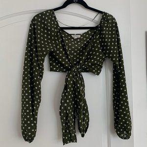 ♡ Cotton Candy LA Green Polka Dot Tie Front Crop